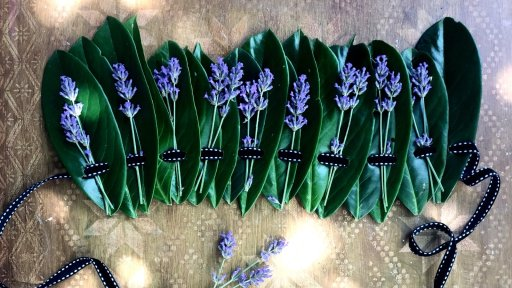 easy nature headdress from laurel and lavender sprigs sustainable headdress
