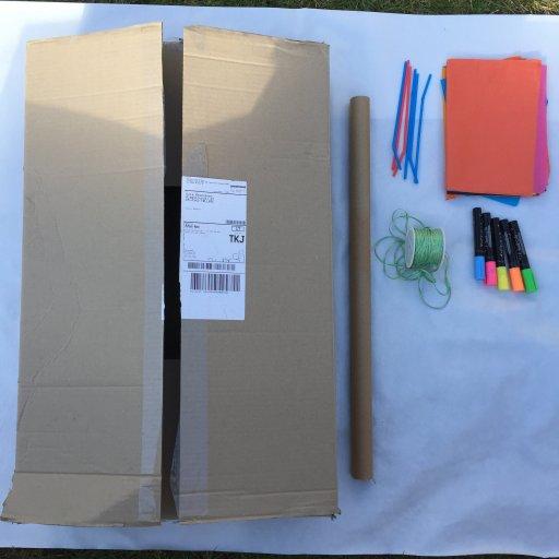 cardboard box, card tube, ribbon, chalk pens and straws