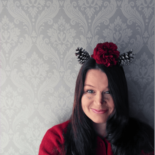 Blogger Ulla Lake wearing a woodland animal headband made with pine cones and roses easy nature craft diy The Awesome Childhood Project blog