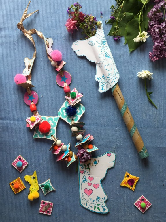 recycled cardboard craft for kids make a sustainable and colourful unicorn wand and necklace