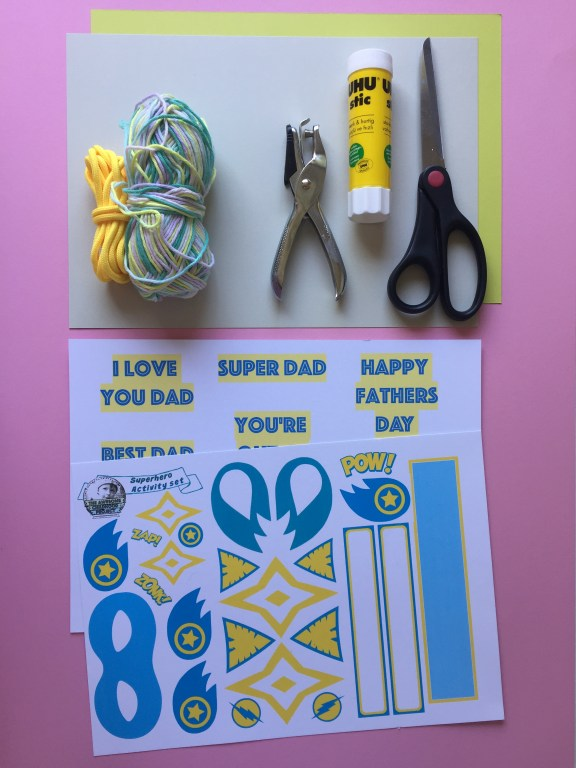 a free superhero themed printable for a homemade fathers day card and bunting set kids craft