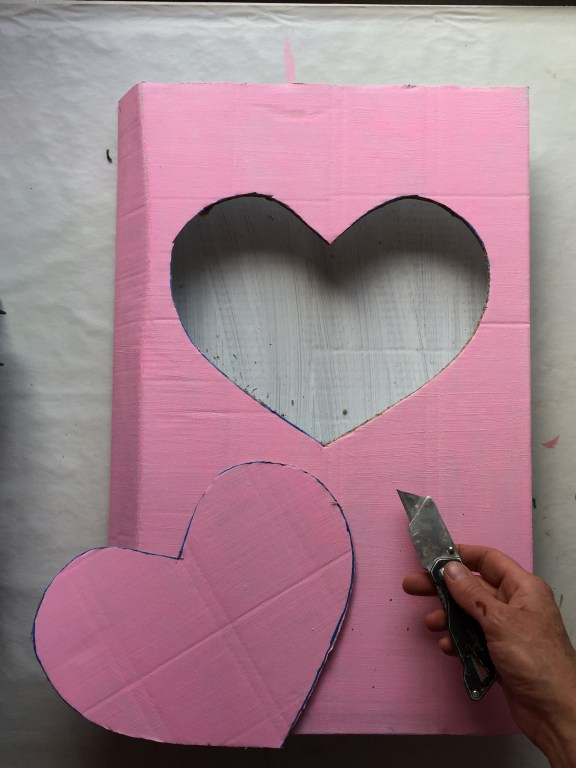 cut out the heart shape using a stanley knife or scissors