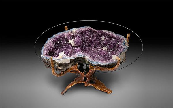 amazing table designs - purple stones