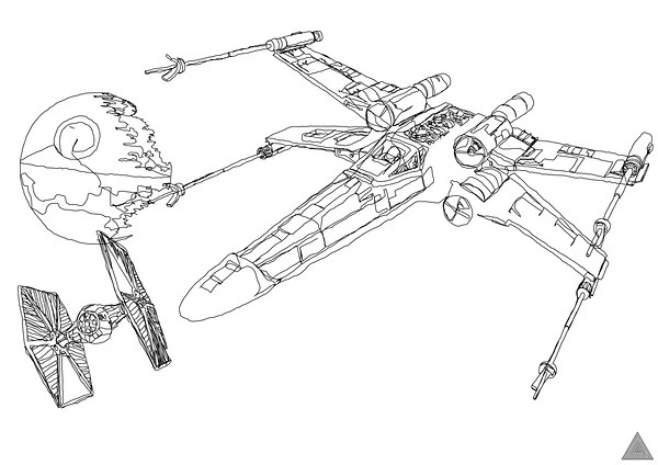 wars ship drawings continuous line wars art