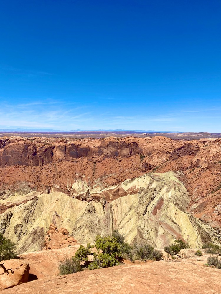 A view overlooking Upheaval Dome in the Canyonlands National Park Island in the Sky District