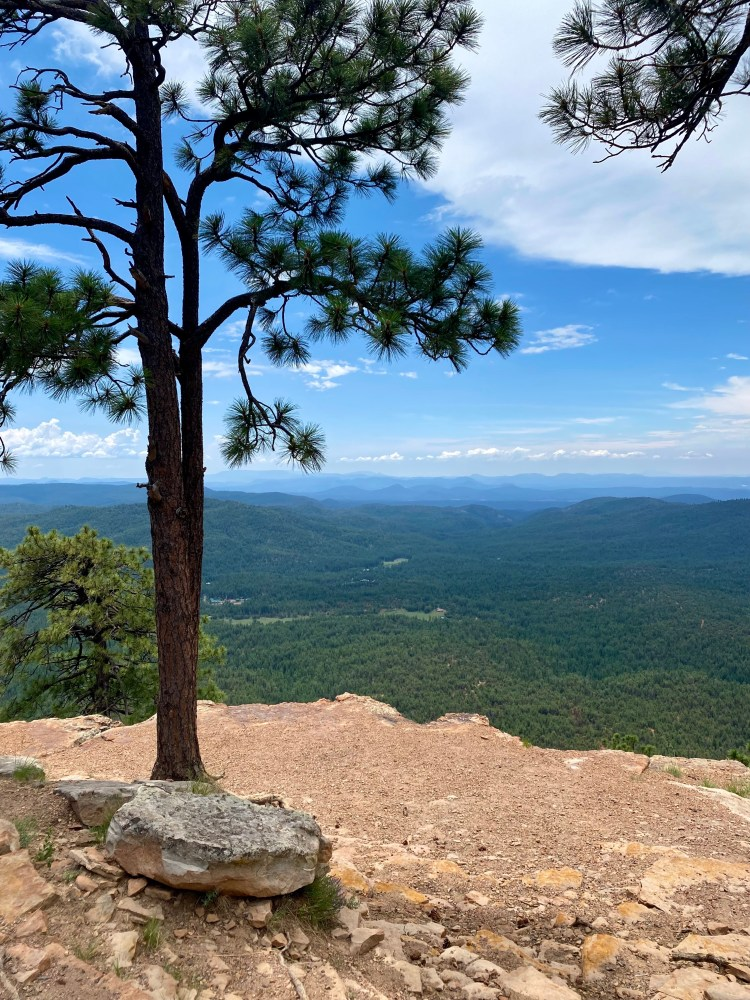 This photo looks southwest out over the transition zone below the Mogollon Rim