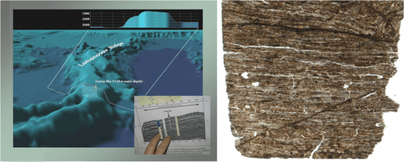 Left: ACEX Lomonsov Ridge drilling location. Right: The 50 million year old core filled with brown layers of Azolla remains,