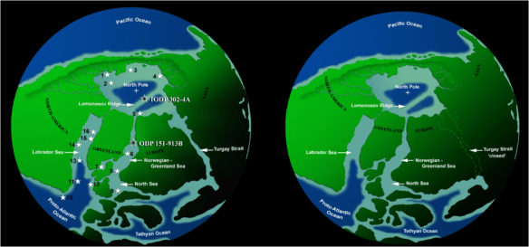 The Arctic Ocean 49 million years ago (left) and 50 million years ago (right).