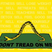 Commercial Yoga Culture's Banner of Truth /// Commoditiy Fetishism as The New Yogi Gadsden Flag