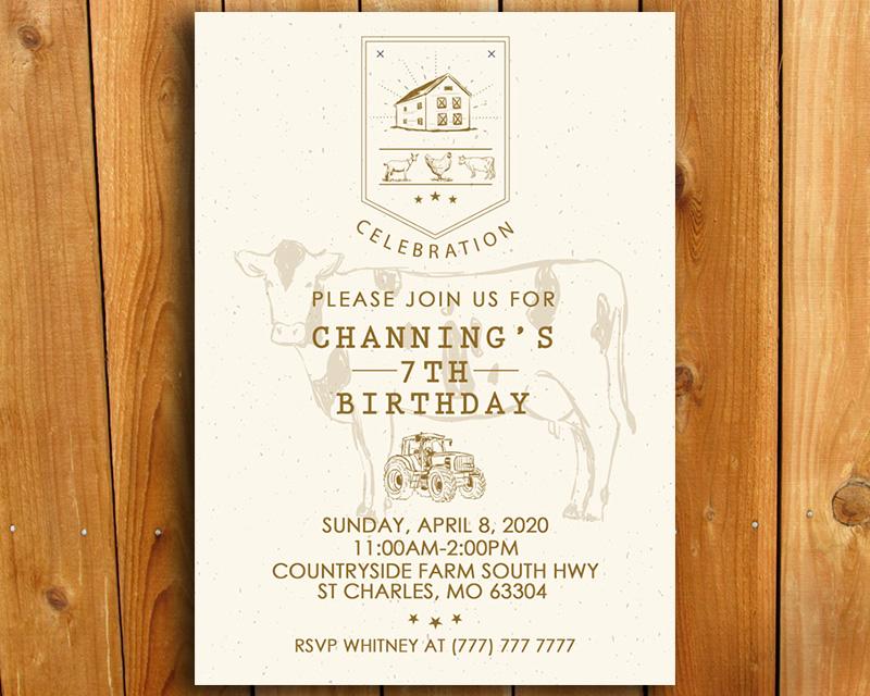 farm and country themed birthday invitation