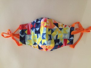 Small Rainbow Face Mask with Orange Ties