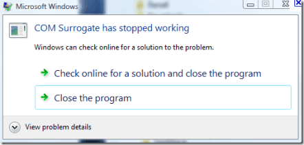 Image result for COM Surrogate has stopped working