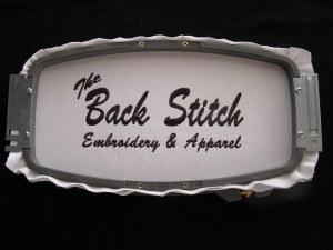 The Back Stitch logo hoop