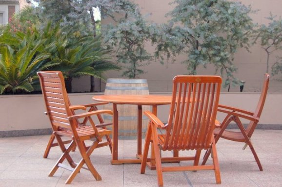 wood patio furniture set for outdoors