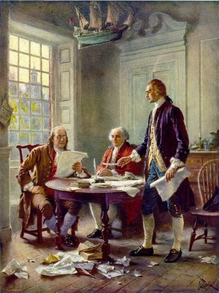 Thomas Jefferson (right), Benjamin Franklin (left), and John Adams (center) meet at Jefferson's lodgings, on the corner of Seventh and High (Market) streets in Philadelphia, to review a draft of the Declaration of Independence. 1 photomechanical print : halftone, color (postcard made from painting). Postcard published by The Foundation Press, Inc., 1932. Reproduction of oil painting from series: The Pageant of a Nation. Thomas Jefferson quotes