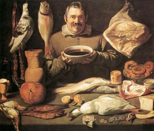 a victorian painting of a chef surrounded by a variety of wild game in preparation for cooking. eating Rabbit Liver