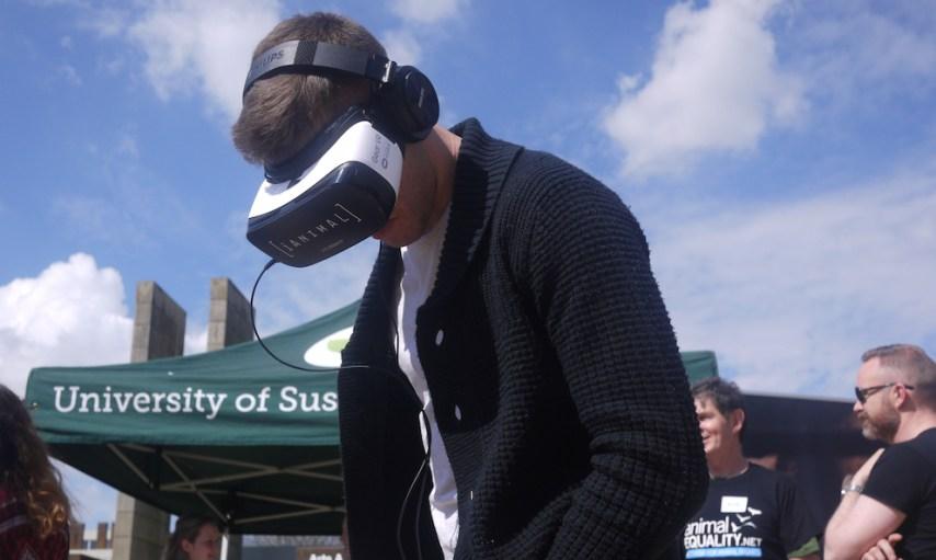 Student wearing iANIMAL virtual reality headset