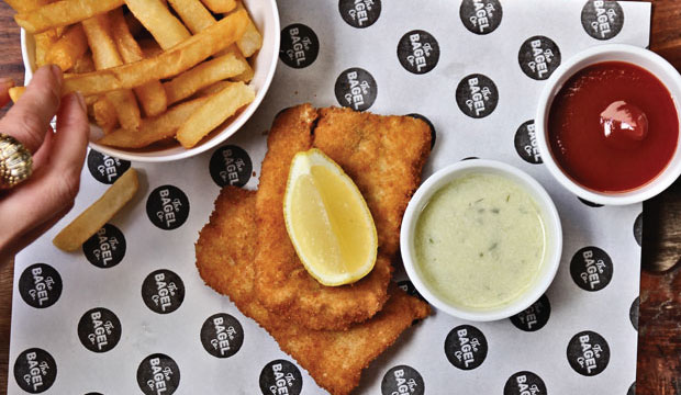 Image showing the Fish, Hot Chips, house-made tartar sauce and ketchup meal that can be ordered online or in-store for lunch at The Bagel co. Rose Bay