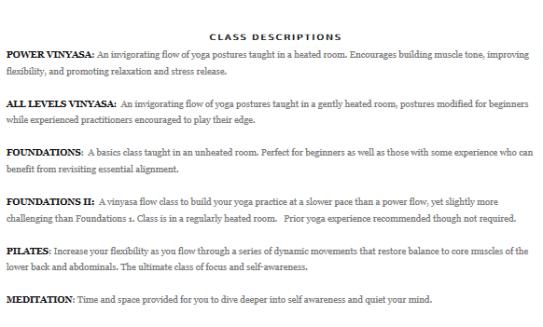 class descriptions 1