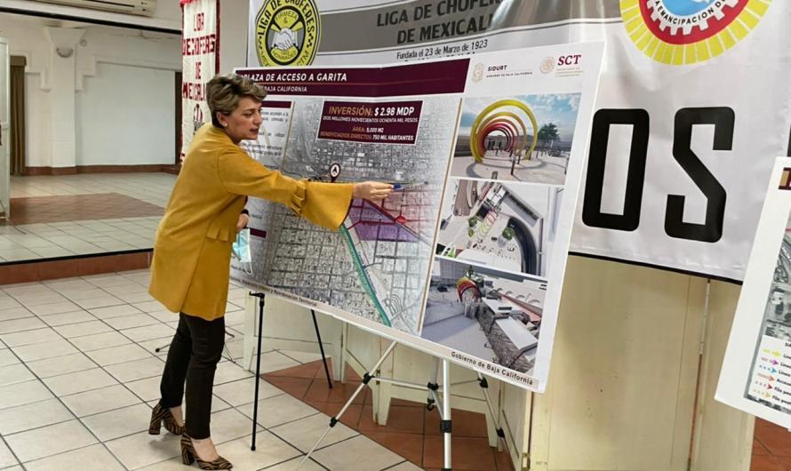 Presenta Karen Postlethwaite obras de infraestructura ante Liga de Choferes de Mexicali