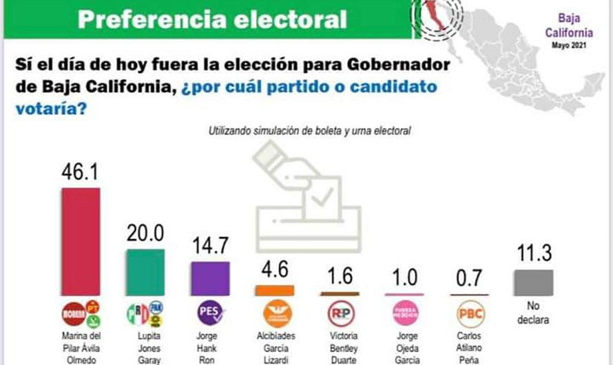 Marina del Pilar encabeza encuestas con preferencia del 46%, según Mitofsky