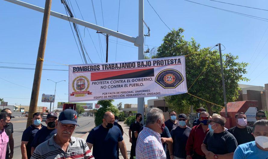 Bomberos de Mexicali trabajan bajo protesta por incumplimiento en acuerdos con Ayuntamiento