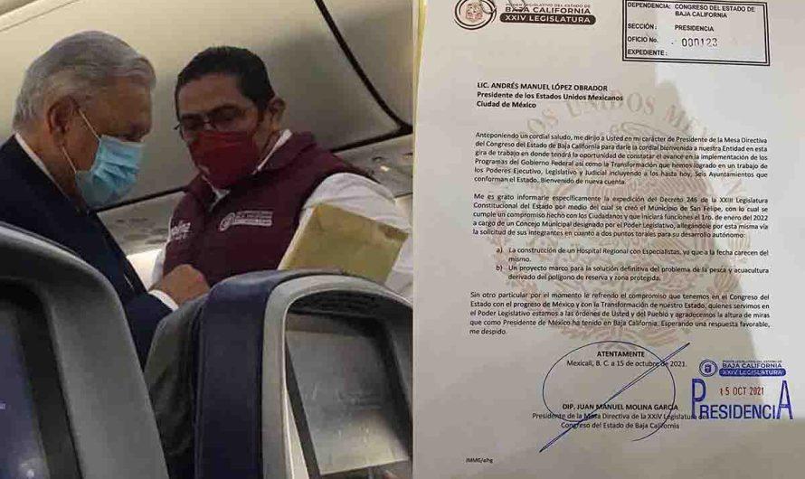 Expone Diputado Molina problemática de San Felipe al Presidente López Obrador