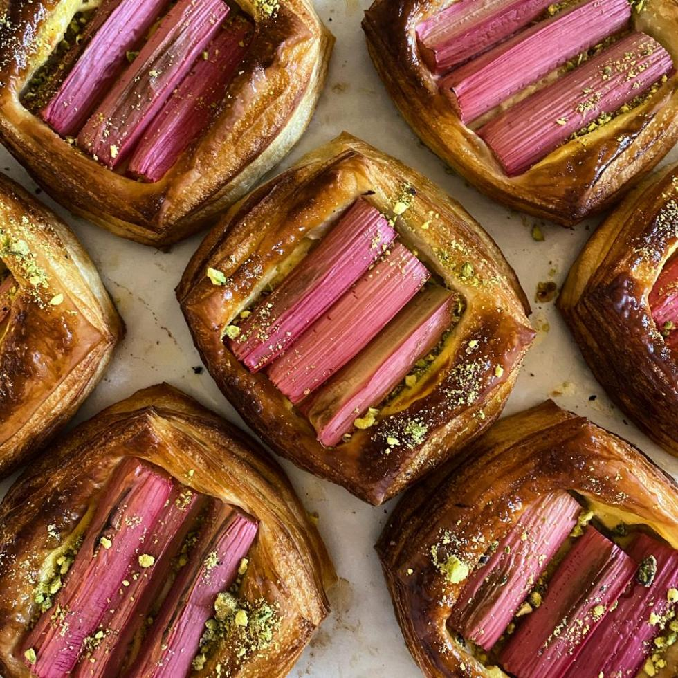 A selection of rhubarb and pistachio danishes