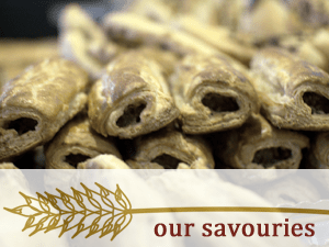 Our savouries including these sausage rolls are made with locally sourced and seasonal ingredients whenever possible
