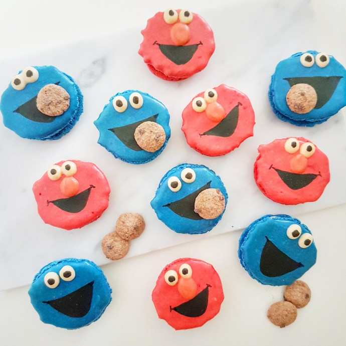 Cookie Monster and Elmo Macarons