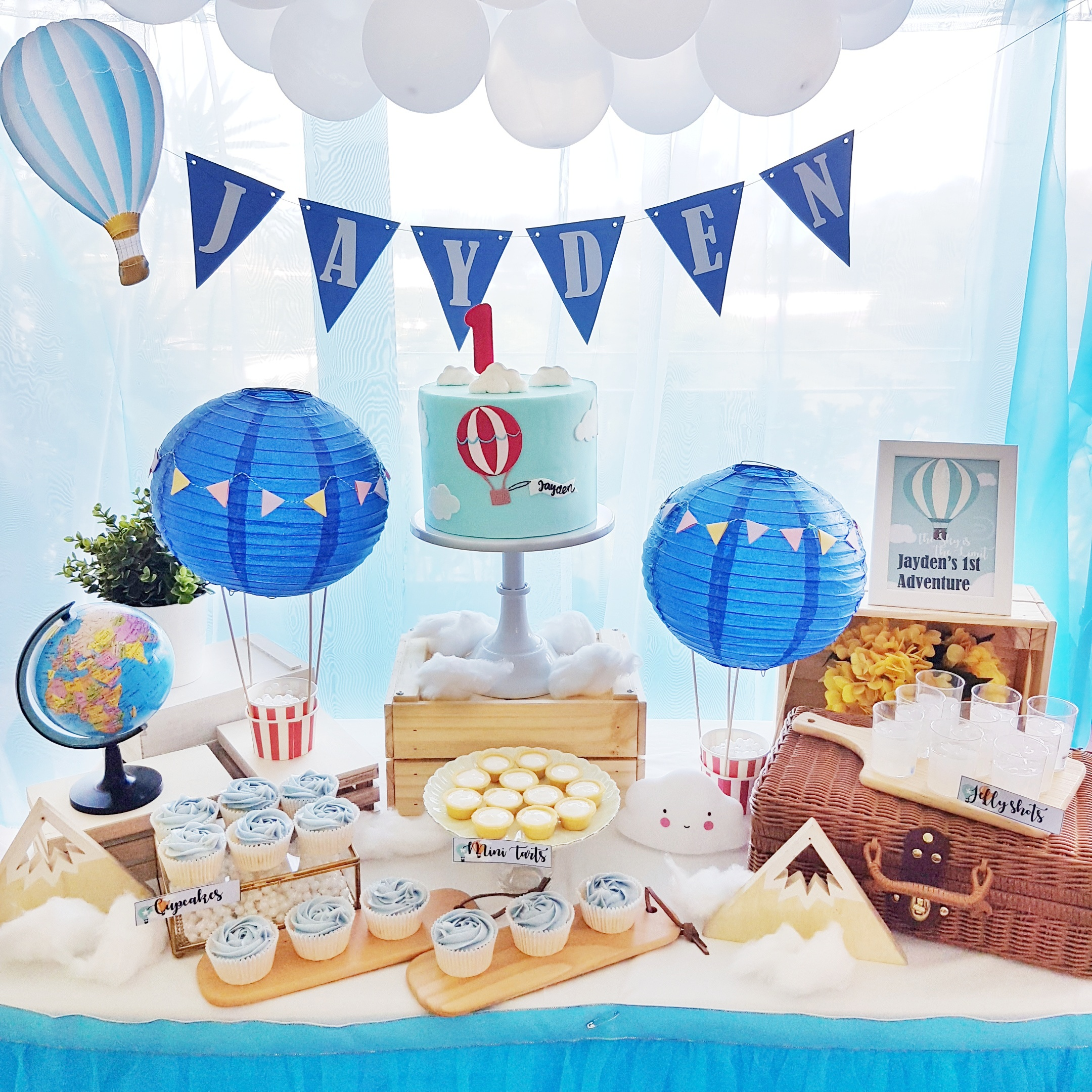 Hot Air Balloon Travel Theme Dessert Table by The Baking Experiment