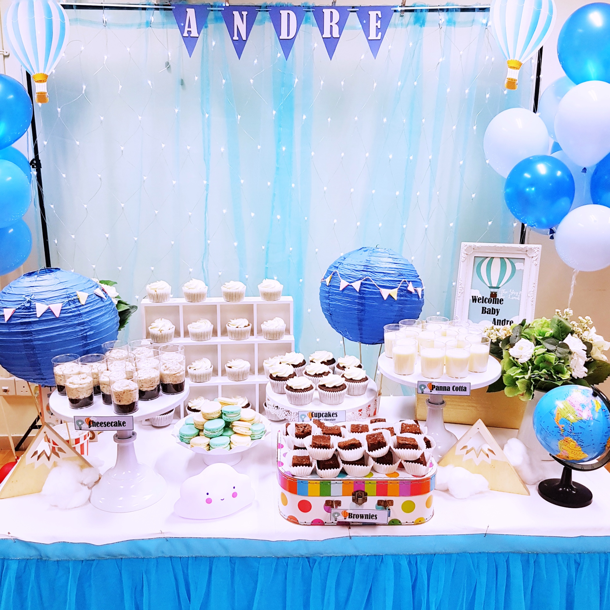 Hot Air Balloon Baby Shower Dessert Table by The Baking Experiment