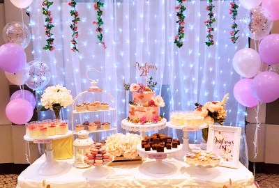 Pink and rose gold dessert table by The Baking Experiment