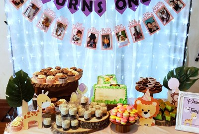 Girly jungle animals dessert table by The Baking Experiment
