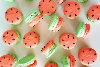 Tutti Frutti Watermelon Macarons by The Baking Experiment