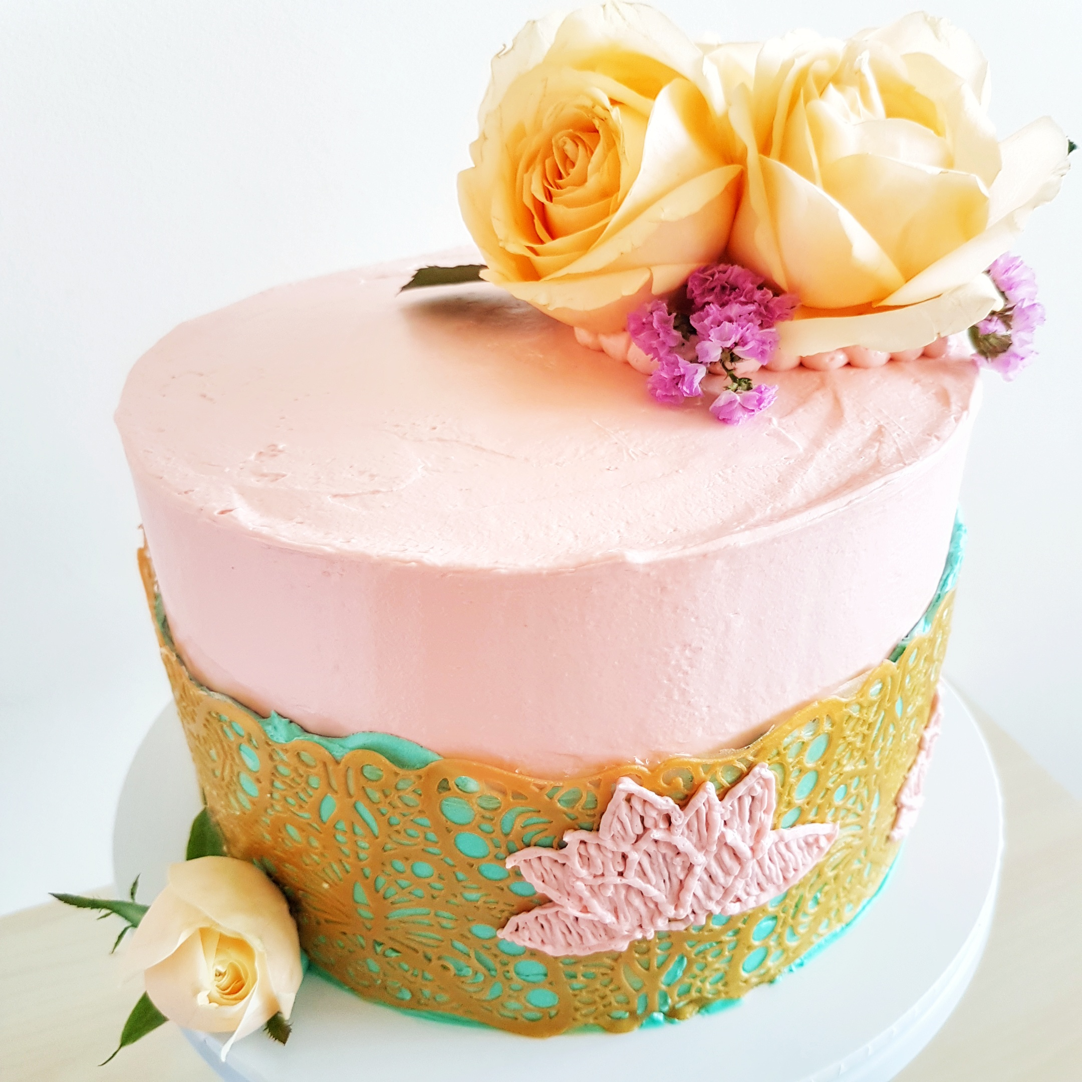 Floral Cake with Lace and Embroidery by The Baking Experiment