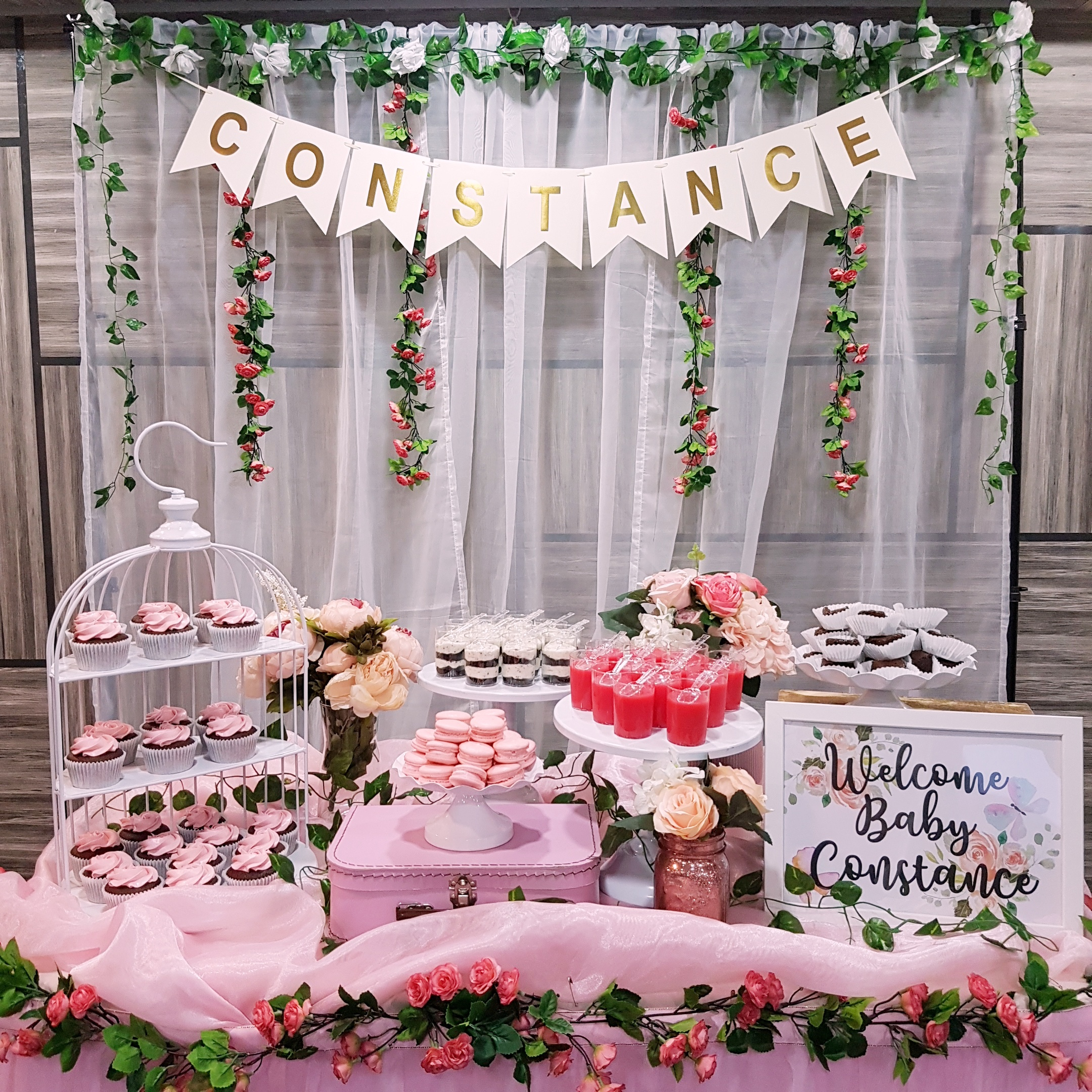 Pastel Pink Baby Shower Dessert Table