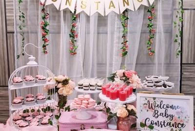 Pastel Pink Baby Shower Dessert Table
