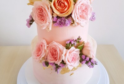 Pink floral two tier cake by The Baking Experiment