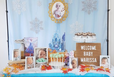 Frozen Baby Shower Dessert Table