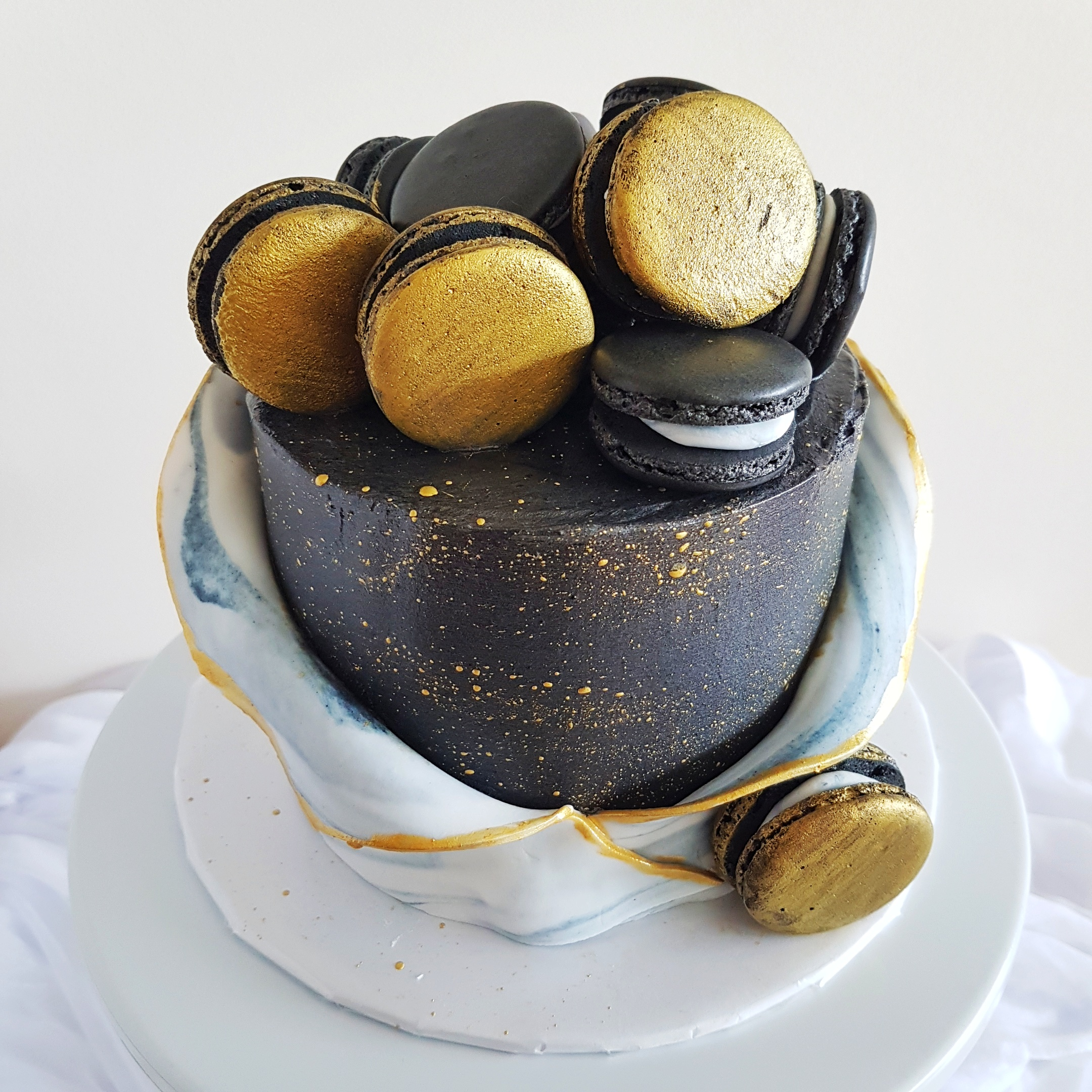Black, Gold and Marble Cake