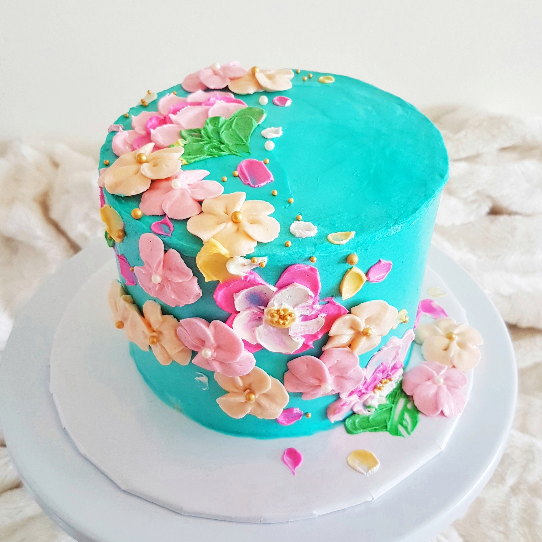 Painted Buttercream Flowers Cake by The Baking Experiment