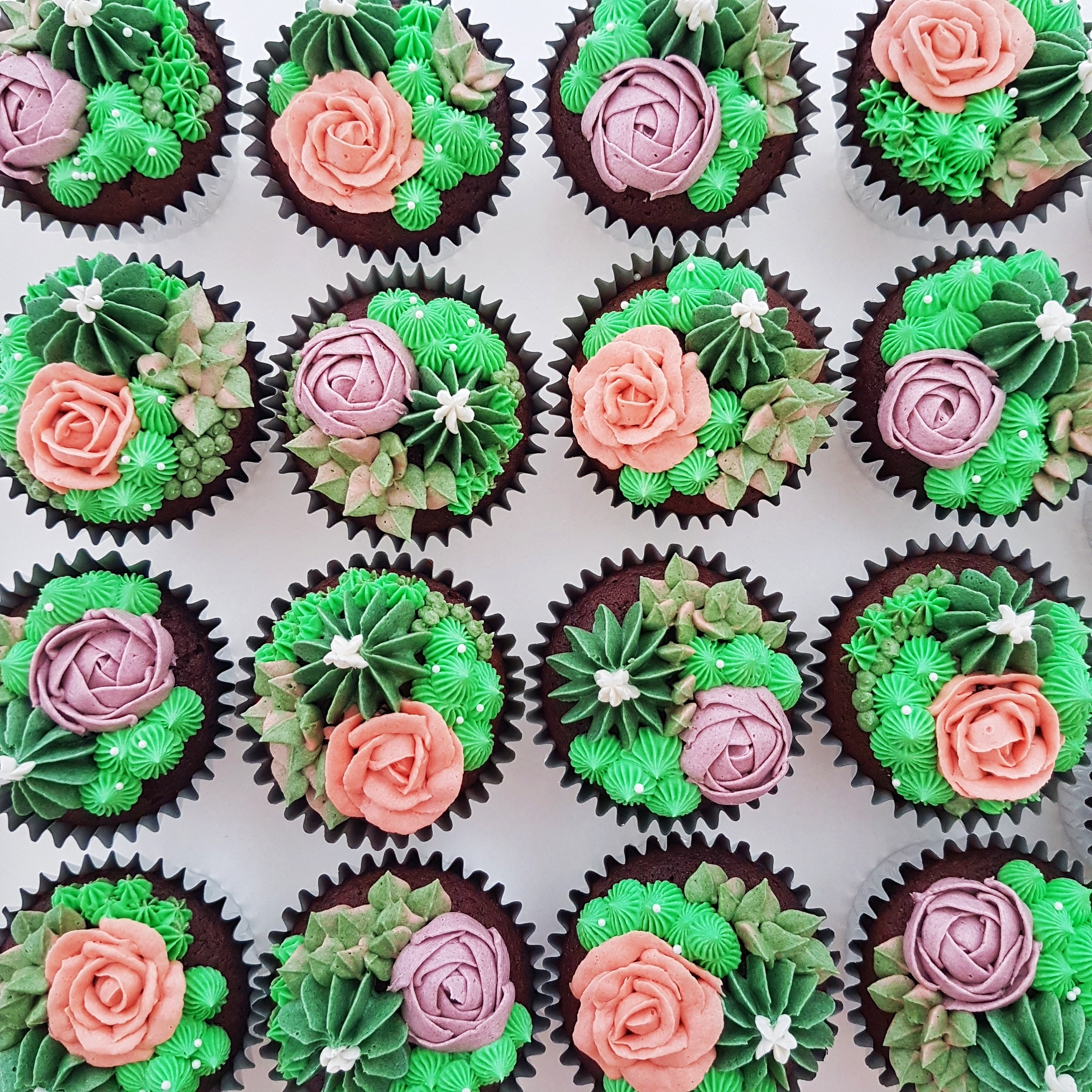 Succulent Cupcakes by The Baking Experiment