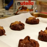 Chocolate Cookies with Nutella and Caramel Sauce
