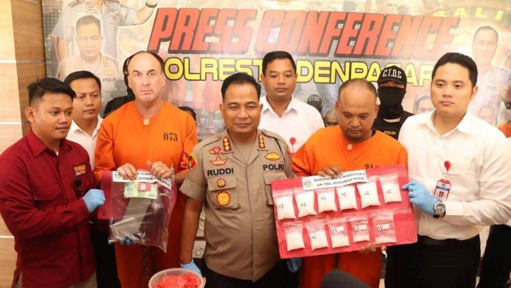 Bali police press conference of arrest of new zleanad man