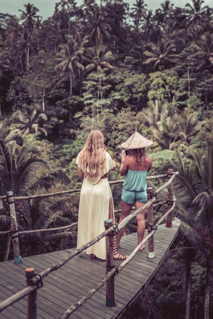 Autralian women tourists ovrlooking jungle in bali