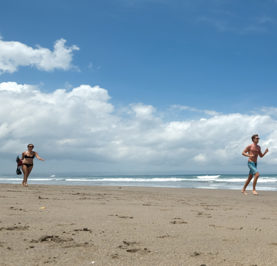 foreigners in bali on beach