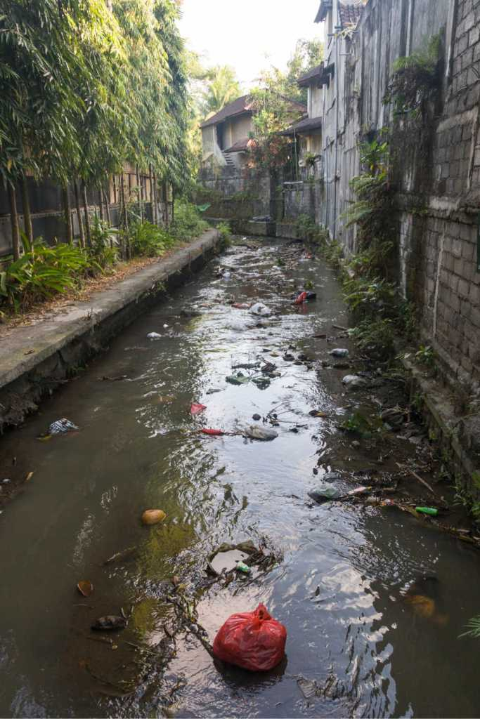polluted river ubud