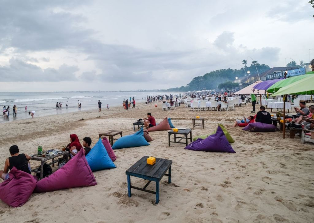 Busy beach during pandemic in bali