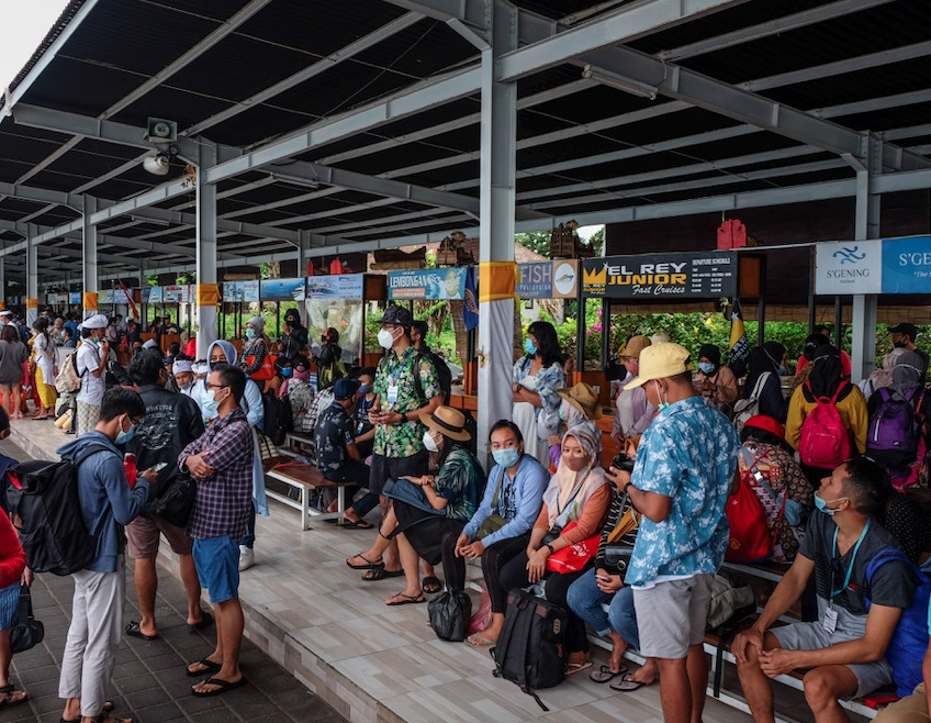 crowded domestic arrivals Bali airport
